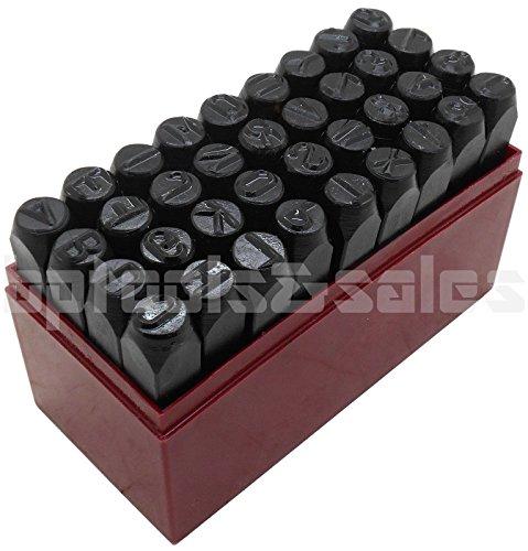 36pc 3/8 STEEL METAL PUNCH LETTER & NUMBER STAMP STAMPING KIT SET PLASTIC CASE by Gener