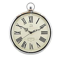 European Style Nostalgic Quartz Clock Champagne Gold 14 Inch Diameter: 42cmX36cmX5.5cm ( Color : Silver )