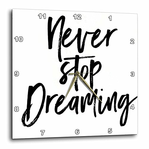 3dRose Sven Herkenrath Quotes - Never Stop Streaming Quote in White Background - 13x13 Wall Clock (dpp_256770_2)