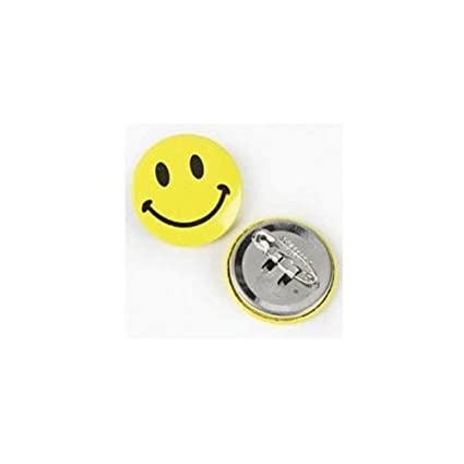 Fun Express - Mini Metal Smiley Smile Face Button Pins (1-Pack of 48)