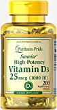 Puritan's Pride High-Potency Vitamin D3 1000 IU, 200 Softgels