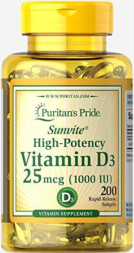 Puritan's Pride High-Potency Vitamin D3 1000 IU, 200 Softgels