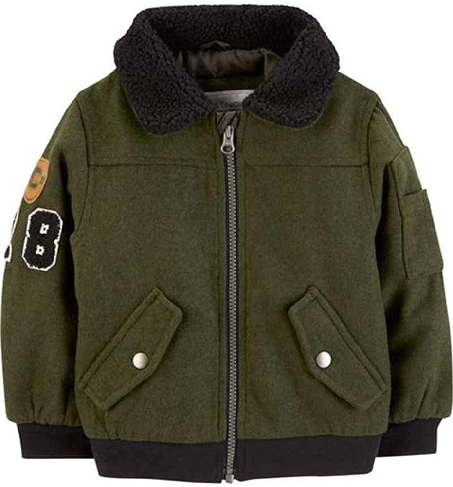 Carters Baby Boys Infant Olive Faux Wool Bomber Jacket