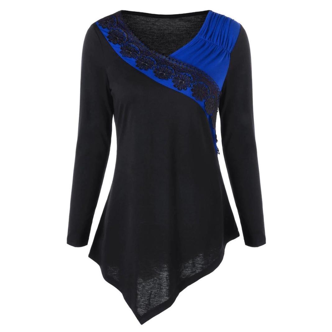 Damen Pullover, Frauen Langarm Schlank Bluse Hemd Shirt , SEWORLD Mode Damen Langarm V-Ausschnitt Pullover Bluse Two Tone Lace Trim Asymmetrische Oberteile