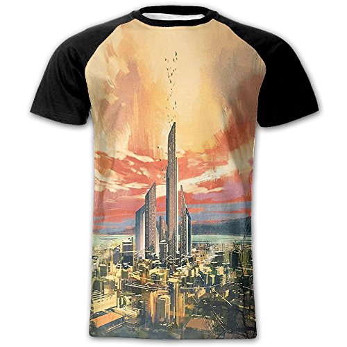 Newfood Ss Modern City by The Harbor with Sailing Yacht Skyscrapers Artsy Painting Style Men's Short Sleeve Raglan T M
