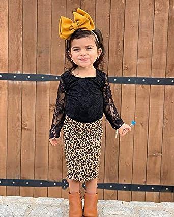 A-Line Leopard Zipper Skirt Set LXXIASHI 2PCS Toddler Baby Girl Outfits Long Sleeve Lace T-Shirt Top