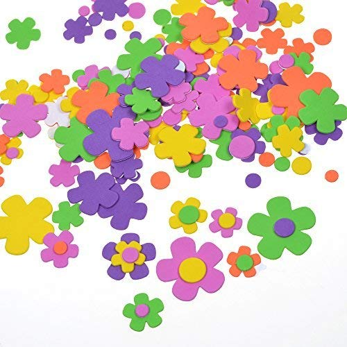 BCP 200 Pcs Self-Adhesive Foam Flower Shapes Stickers for Craft Art Project -