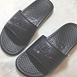 Bling NIKE SLIDES with Swarovski Crystals ALL BLACK Women's NIKE Benassi JDI Slides Custom Bedazzled Slip On Sandal Shoes