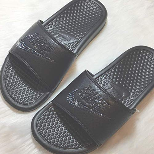 80da7d1e4554 Bling NIKE SLIDES with Swarovski Crystals ALL BLACK Womens NIKE Benassi JDI  Slides Custom Bedazzled Slip ...