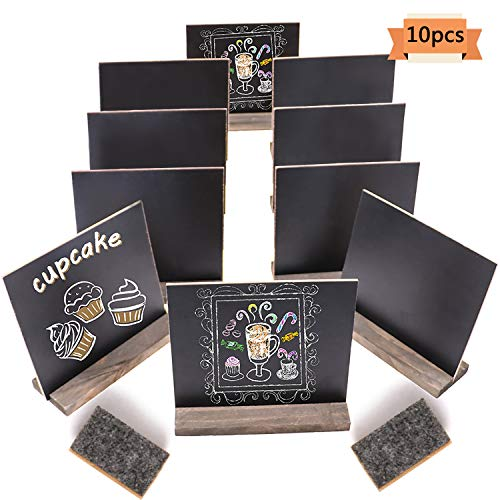 Xgood 10 Sets Mini Chalkboard Easel Signs Wooden Small Blackboard Message Boards with Vintage Style and 2 Pieces Non-Woven Eraser for Food,Party,Wedding,Bar and Event Decoration