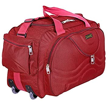 Alfisha Unisex Lightweight Waterproof Synthetic 30 L Red Travel Duffel Bag  Luggage with Roller Wheels  Amazon.in  Bags 02faf37d5b242