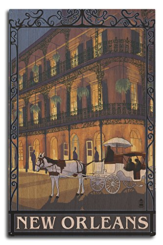 - New Orleans, Louisiana - French Quarter (10x15 Wood Wall Sign, Wall Decor Ready to Hang)