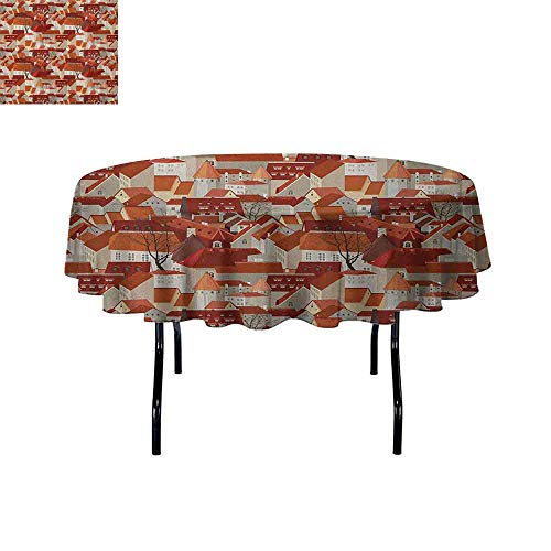 Douglas Hill City Printed Tablecloth Landscape Illustration with Tile Roof Pattern Urban Architecture Ornamental Design Desktop Protection pad D51 Inch ()