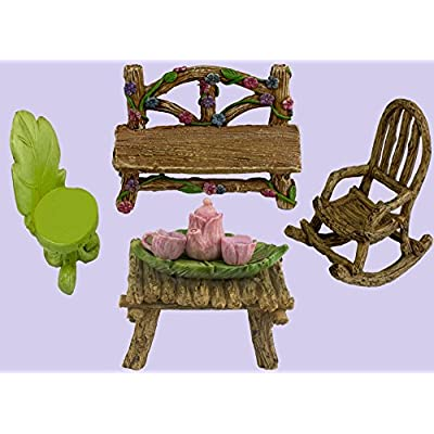 Twig & Flower The Super Cute Miniature (Eight Piece) Fairy Garden Furniture & Tiny Tea Set: Garden & Outdoor
