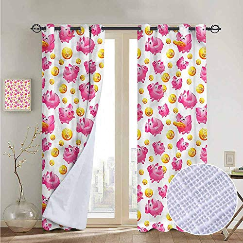 - NUOMANAN Bedroom Curtains 2 Panel Sets Pig,Coin Bank with Dollar Signs,Complete Darkness, Noise Reducing Curtain 52