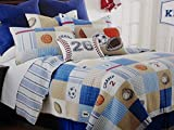kieran SPORTS TWIN Size Reversible Quilt SET: QUILT + SHAM (Soccer Basketballs Footballs Baseball)