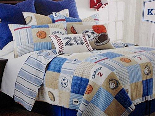 fan products of kieran SPORTS TWIN Size Reversible Quilt SET: QUILT + SHAM (Soccer Basketballs Footballs Baseball)