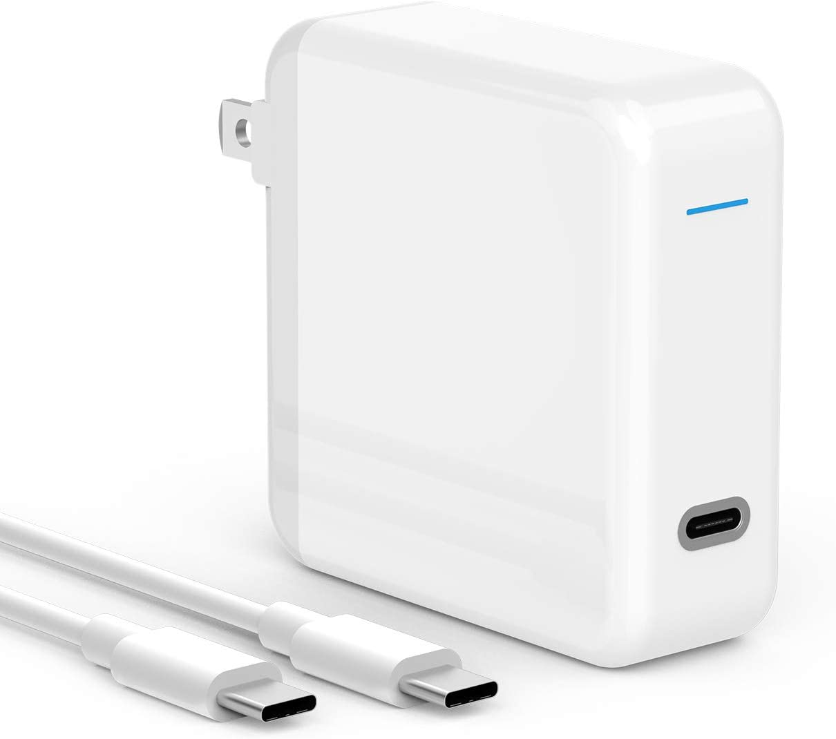 61W USB C Fast Charger Compatible with MacBook Pro 13/15 inch, Book 12 inch, New Air 13 inch, Thunderbolt 3 Type C Laptop Power Adapter Supply, LED, Foldable Plug, 6.6ft USB C to C Cord