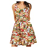Christmas Dress for Women, 2019 New Sleeveless O-Neck Christmas Cat Hat Printed Mini Dress Party Dress