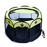 KISKISTONITE Pet Playpen Portable Foldable 600D Oxford Cloth Dog Exercise Kennel, 28″ D x 17″ H