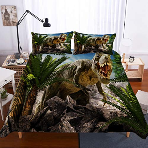 APPJQ Jurassic Decor Duvet Cover Set Twin Size, Dinosaur in The Jungle Trees Forest Nature Woods Scary Predator Violence, Decorative 3 Piece Bedding Set with 2 Pillow Shams]()