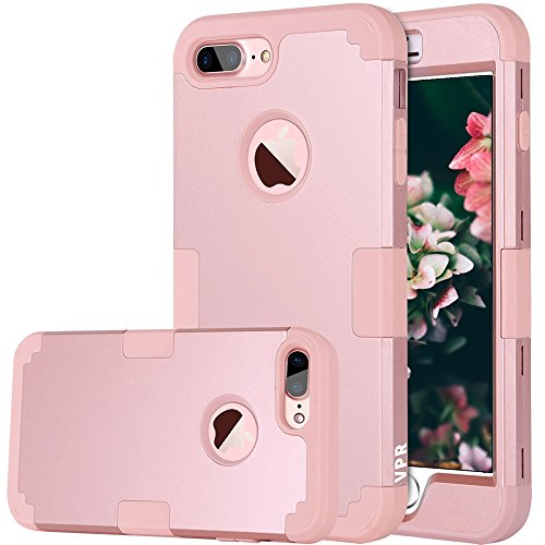 iPhone 8 Plus Case, 8 Plus Case, VPR 3 in 1 Hybrid Cover Hard PC Soft Silicone Rubber Heavy Duty Shock Absorbing Protective Defender Case for Apple iPhone 8 Plus 2017 Release (RoseGold)