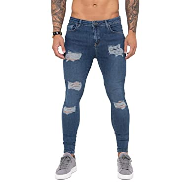 d921dd3340f Nimes Super Skinny Spray on Denim Extreme Distressed Jeans Dark Blue-32S