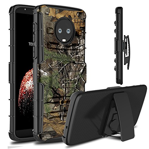 Moto G6 Plus Case, Venoro Heavy Duty Shockproof Armor Holster Defender Full Body Rugged Protective Case Cover with Kickstand and Belt Swivel Clip for Motorola Moto G6 Plus (Camouflage)