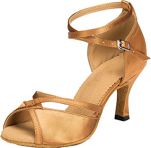 Salabobo AQQ-8060 Womens Wedding Party Tango Peep Toe High Heel Satin Dance Shoes golden Bnxm7ufMA5