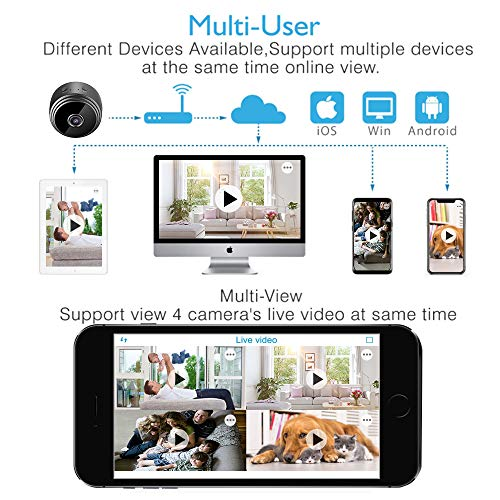 Mini Spy Camera Wireless Hidden Camera, MEckily WiFi Full HD 1080P Portable  Nanny Cam with Night Vision and Motion Detection, Remote View with Cell