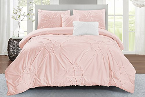 (Wonder Home Starburst Comforter Set, Queen, Pink)
