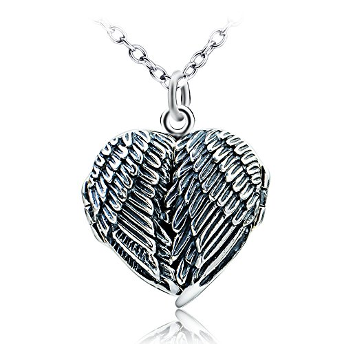 [YFN S925 Sterling Silver Retro Angel Wings Heart Locket Pendant Necklace 18''] (Angel Locket)