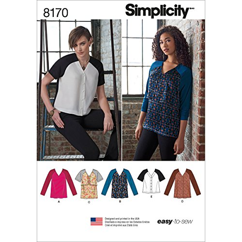 Simplicity Pattern 8170 Misses' Easy to Sew Tunics and Tops Size R5 (14-16-18-20-22)