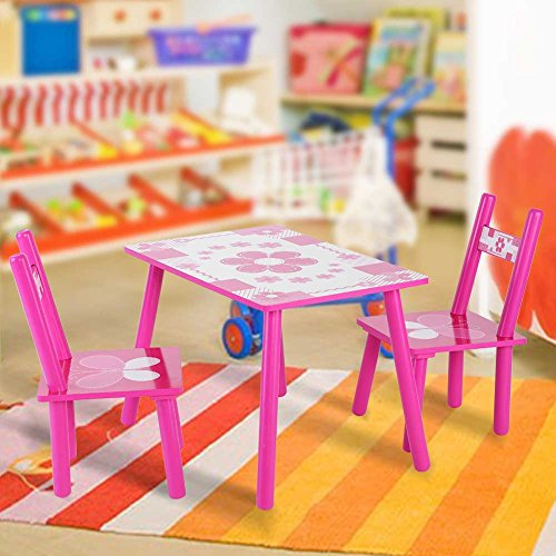 Butterfly Table And Chair Set (Children Table and Chair Set, Children Activity Table Set Childrens Wooden Table and Chair Set for Studying Painting In Home School)