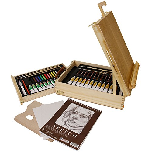 US Art Supply 62-Piece Wood Box Easel Painting Set- Inclu...