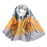 Xmiral Women Scarf Fashion Flower Printing Long Soft Wrap Elegant glamorous Scarf Shawl Scarves(Grey)