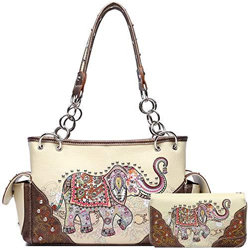 Elephant Rhinestone Studded Western Style Concealed Carry Purse Handbag Women Shoulder Bag Wallet Set (#2 Ivory Set)