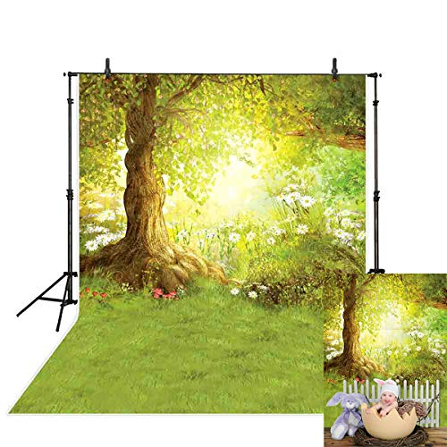 Allenjoy 5x7ft Spring Backdrop Easter Fairytale Dream Spring Tree Photography Background Grass Flower Sunshine Children Baby Photo Studio -
