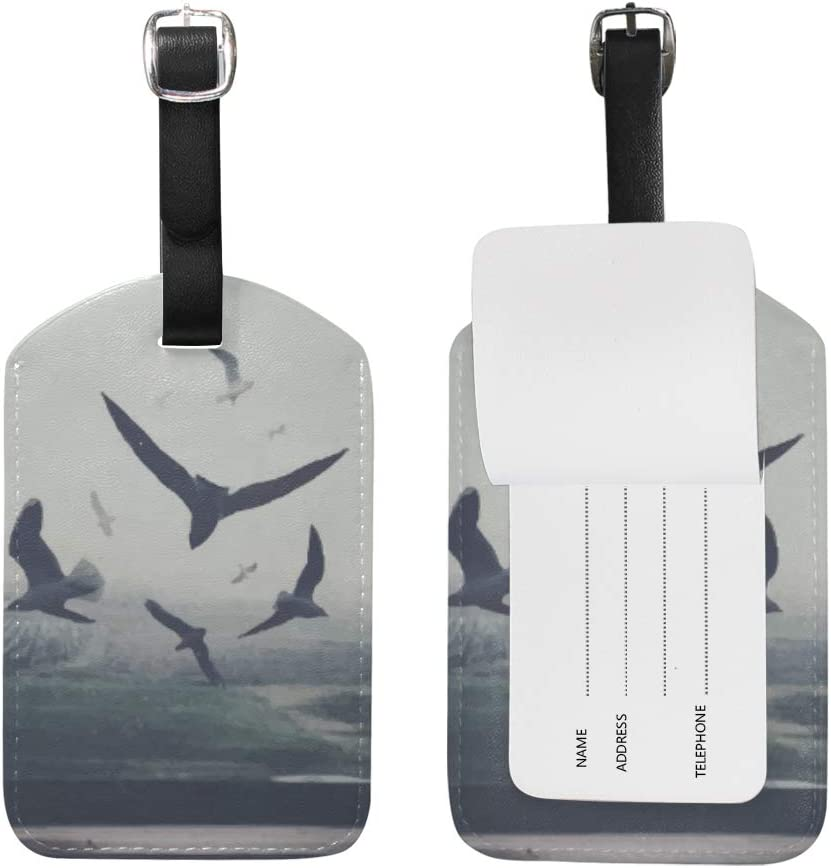 Chic Houses Watercolor Flying Bird Animal Pattern Travel Luggage Tags Gray Shadow Painting Artwork Suitcase Bag Tags Carry-On ID Tags with Black Strap 2030038