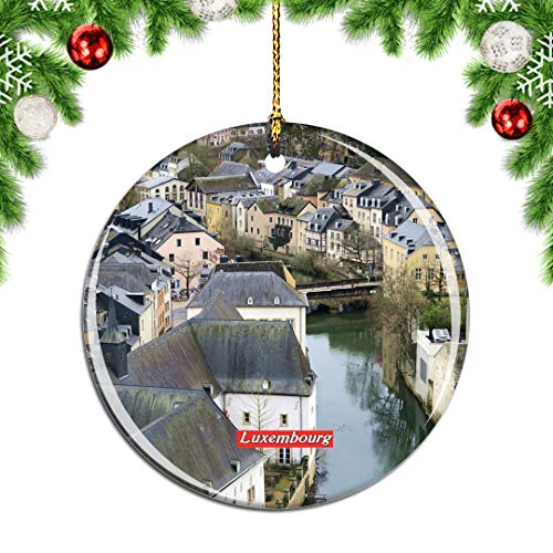 Weekino Luxembourg Old Town Christmas Xmas Tree Ornament Decoration Hanging Pendant Decor City Travel Souvenir Collection Double Sided Porcelain 2.85 Inch (Christmas Luxembourg)