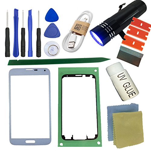 S5 Front Glass Screen Replacement Kit, Sunmall Front Outer lens Glass Screen Replacement Repair Kit LCD Glass Repair Kit With UV Glue UV Torch For Samsung Galaxy S5 (White)