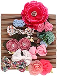 Angwang Baby Girl Headbands and Hair Bows for Newborn Infant Toddler Nylon Hairbands, Gift, 10 Pack Hair Acces