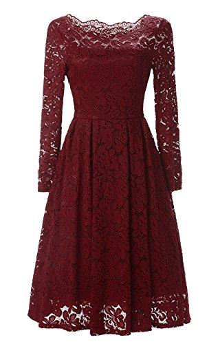 Lace Dress (Viwenni Women's Vintage Floral Lace Cocktail Summer Swing Dress XL Red)