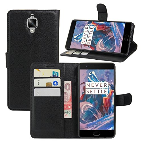 OnePlus 3 Case, OnePlus 3T Case, Fettion Premium PU Leather Wallet Flip Phone Protective Case Cover with Card Slots and Magnetic Closure for OnePlus 3 / OnePlus 3T Smartphone (Black)