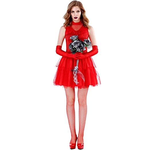 XRQ Disfraz de Zombie de Halloween, Ropa de Novia Fantasma roja ...
