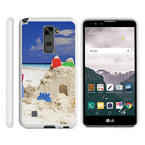 (TurtleArmor | LG Stylus 2 Case | LG G Stylo 2 Case [Slim Duo] Fitted Ultra Compact Slim Hard Cover Rubberized Coat Snap On Shell on White Beach Design - Sand Castles)
