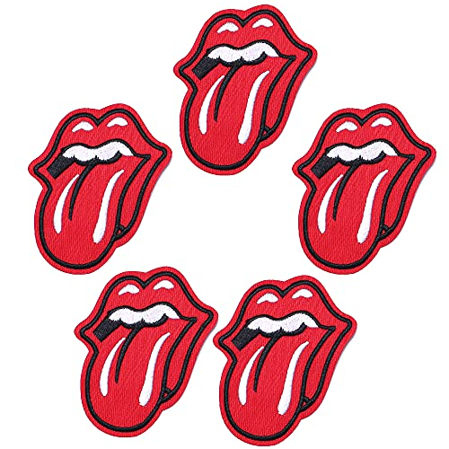 Harsgs Red Lips Patches,Embroidered Iron On/Sew On Patches, Cute Applique Patches for Clothing, Jackets, Hats, Backpacks, Jeans (Pack of 5)
