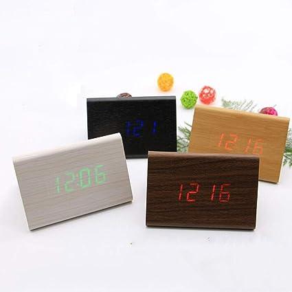 Reloj De Alarma Triangular De Madera Reloj Inteligente De Temperatura Reloj Digital Multifunción Reloj Silencioso Reloj