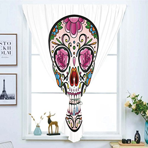 Blackout Window Curtain,Free Punching Magic Stickers Curtain,Sugar Skull Decor,Spooky Sugar Skull with Pink Roses Twigs Blooms Teeth Smile Halloween Decorative,Multicolor,Paste Style,for Living Room