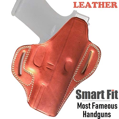 OWB for Glock 19 HOLSTER LEATHER Fits Mid Size Pistols 9mm 40 45 Concealed Carry Gun Fit Glock G19 23 26 27 H&K VP9 Springfield XD XDS Sig Sauer p38 S&W 457 Walther PPQ Beretta 84 (Classic Tan Brown) (Best Mid Size 9mm Handgun)